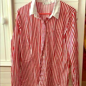 Collard Red Stripe Blouse; Button Down